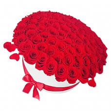 """101 червона троянда в шляпной коробці """"Стріла Амура"""""""