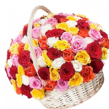 """101 роза микс в корзине """"Татьяна"""". annetflowers.com.ua. Купить цветы в корзине"""