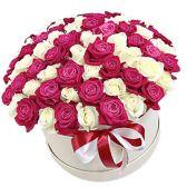 """101 роза микс в шляпной коробке """"Great Love"""""""