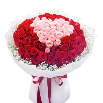 """101 роза микс """"Валентина"""". annetflowers.com.ua. Купить большой букет роз с доставкой на дом"""