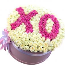 """201 роза в шляпной коробке """"Барбара"""""""