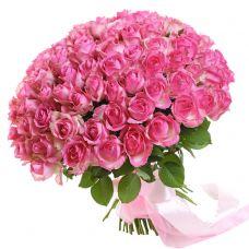 101 розовая роза 60см