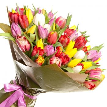 """101 тюльпан мікс """"Весняна веселка"""". annetflowers.com.ua. Купити великий букет тюльпанів в Києві"""
