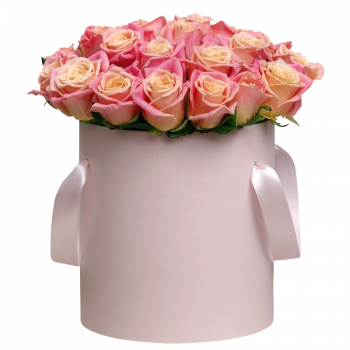 """21 роза в шляпной коробке """"Алекса"""". annetflowers.com.ua. Купить розы в коробке в Киеве"""