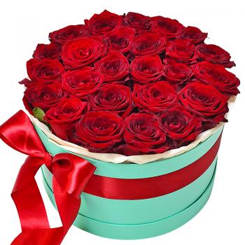 """25 красных Премиум роз в коробке """"Николь"""". annetflowers.com.ua. Купить красные розы в коробке"""