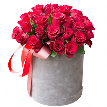 """25 красных роз в шляпной коробке """"Надежда"""". annetflowers.com.ua. Купить красные розы"""