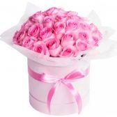 """25 розовых роз в шляпной коробке """"Олеся"""""""
