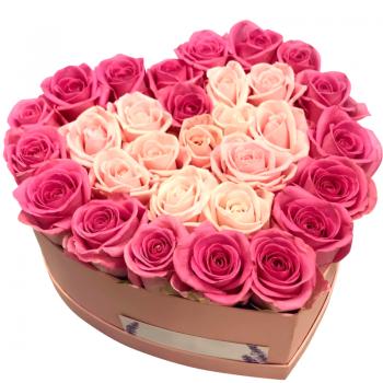 "31 роза в коробке сердце ""Мария"". annetflowers.com.ua. Купить микс роз в коробке сердце"