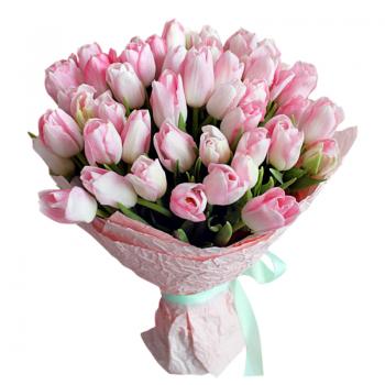 """31 рожевий тюльпан """"Сама ніжність"""". annetflowers.com.ua. Купити тюльпани в Києві"""
