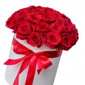 """35 красных роз в шляпной коробке """"Jasmine"""""""