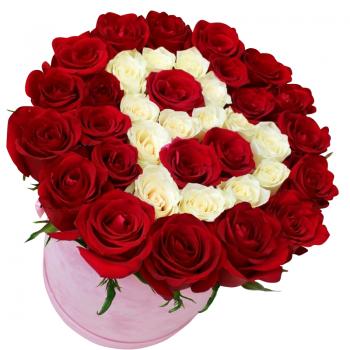 """35 троянд в шляпной коробці """"Алісія"""". annetflowers.com.ua. Купити червоні і білі троянди"""