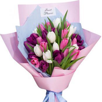 35 тюльпанов микс. annetflowers.com.ua. Купить букет тюльпанов недорого