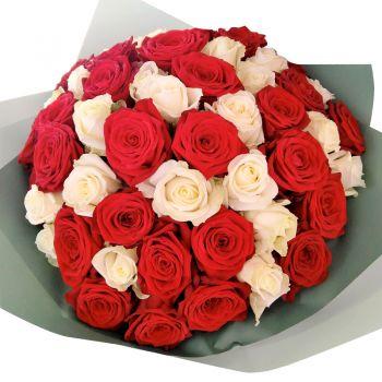 """51 роза микс """"Любимой жене"""". annetflowers.com.ua. Заказать большой букет 51 роза в Киеве"""