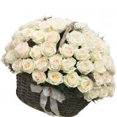 """101 белая роза в корзине """"Счастье"""""""