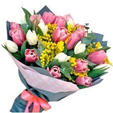 25 тюльпанов и мимоза
