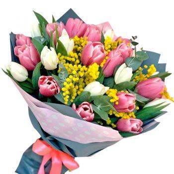 25 тюльпанів і мімоза. annetflowers.com.ua. купити тюльпани в киеве