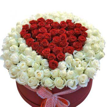 """Большая шляпная коробка роз """"Сердце"""". annetflowers.com.ua. Купить розы в шляпной коробке"""