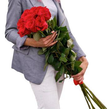 Букет 9 красных роз. annetflowers.com.ua. Купить 9 красных роз с доставкой