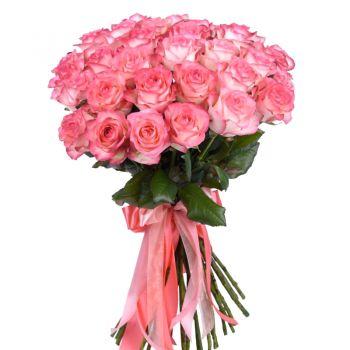 """Букет розовых роз """"Янина"""". annetflowers.com.ua. Купить 27 розовых роз"""