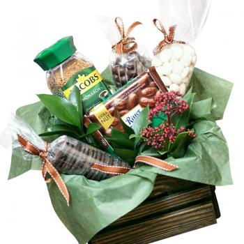 """Деревянный подарочный ящик """"Угощение"""". annetflowers.com.ua. Купить деревянный подарочный ящик """"Угощение"""""""