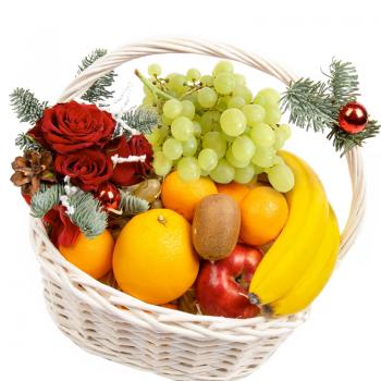 Новогодняя фруктовая композиция в корзине. annetflowers.com.ua. Купить новогоднюю фруктовую композицию в корзине