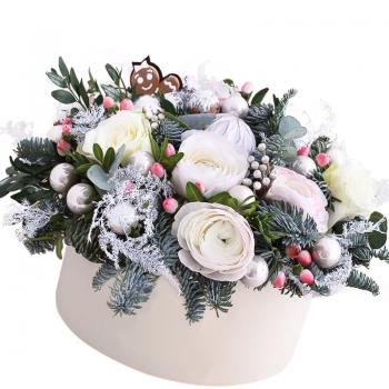 Новогодняя композиция в коробке. annetflowers.com.ua. Купить новогоднюю фруктовую композицию в коробке
