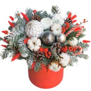 """Новогодняя коробка """"Еловая сказка"""". annetflowers.com.ua. Купить новогоднюю коробку """"Еловая сказка"""""""