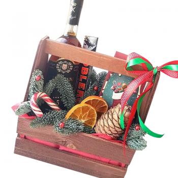 """Подарочный новогодний ящик """"Санта-Клаус"""". annetflowers.com.ua. Купить подарочный новогодний ящик """"Санта-Клаус"""""""