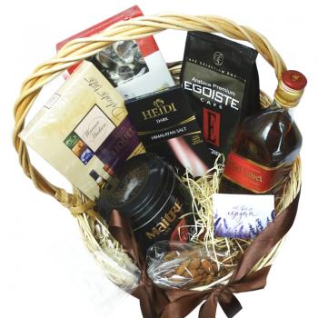 """Подарочная корзина """"Изысканность"""". annetflowers.com.ua. Купить подарочную корзину для мужа"""