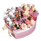 """Цветы в коробке """"Сладкое сердце"""""""