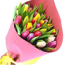"""Букет разноцветных тюльпанов """"Патриси"""""""
