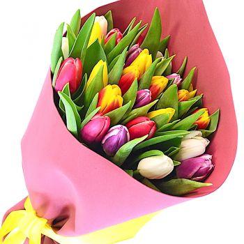 """Букет разноцветных тюльпанов """"Патриси"""". annetflowers.com.ua. Купить тюльпаны недорого"""