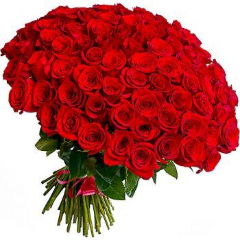 """Букет 101 красная роза """"Моника"""". annetflowers.com.ua. Купить большой букет из 101 красной розы в Киеве"""