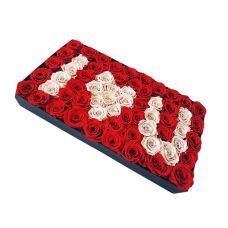 """101 красно-белая роза """"Вечная Любовь"""""""