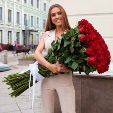 101 червона імпортна троянда 1 метр