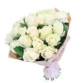 """25 белых роз, 60см """"Белоснежка"""""""