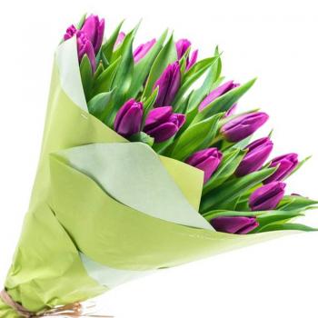 """Букет 25 бузкових тюльпанів """"Королева"""". annetflowers.com.ua. Купити тюльпани в Києві"""
