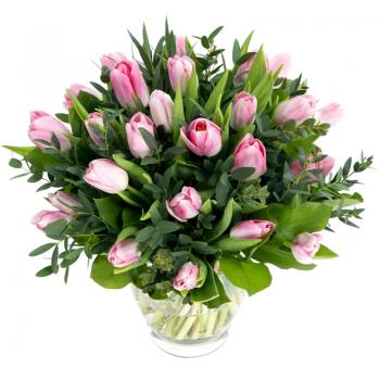 """Букет 31 розовый тюльпан """"Весеннее благоухание"""". annetflowers.com.ua. Купить букет розовых тюльпанов недорого"""