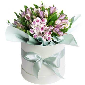 "Букет альстромерий в коробке ""Анфиса"". annetflowers.com.ua. Купить букет альстромерий в шляпной коробке"