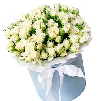 """Букет белых кустовых роз """"Лилиан"""". annetflowers.com.ua. Купить белые розы"""
