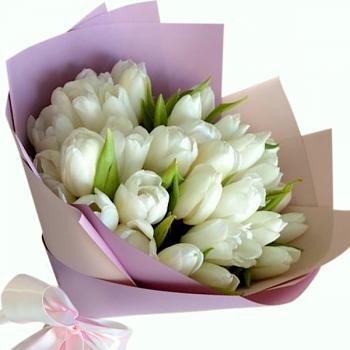 """Букет белых тюльпанов """"Эмма"""". annetflowers.com.ua. Купить белые тюльпаны"""
