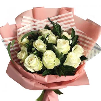 """Букет из 11 белых роз """"Любимой"""". annetflowers.com.ua. Купить белые розы"""