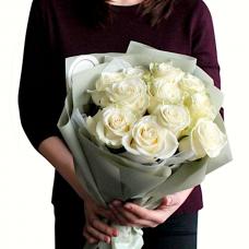 Букет из 11 голландских белых роз, 80 см