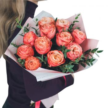 Букет из 11 пионовидных роз. annetflowers.com.ua. Купить оранжевые розы
