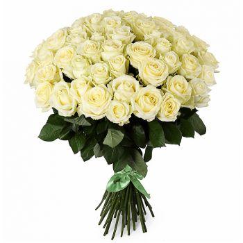 Букет из 51 белой розы (60см). annetflowers.com.ua. Купить белые розы с доставкой по Украине