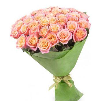 Букет з 51 персикової троянди. annetflowers.com.ua. Купити букет з 51 троянди в Києві в магазині квітів