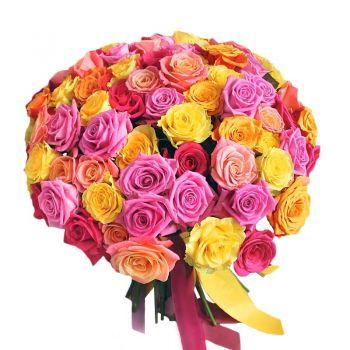 """Букет из 51 розы """"Наталия"""". annetflowers.com.ua. Купить 51 розу микс в Киеве"""