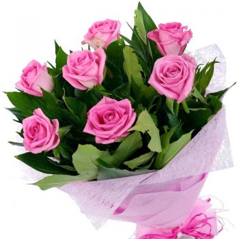 Букет из 7 розовых роз. annetflowers.com.ua. Купить розовые розы недорого