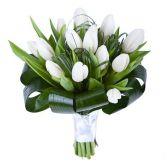 """Букет из 15 тюльпанов """"Белое облако"""""""