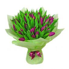 """Букет из 39 сиреневых тюльпанов """"Легкий бриз"""""""